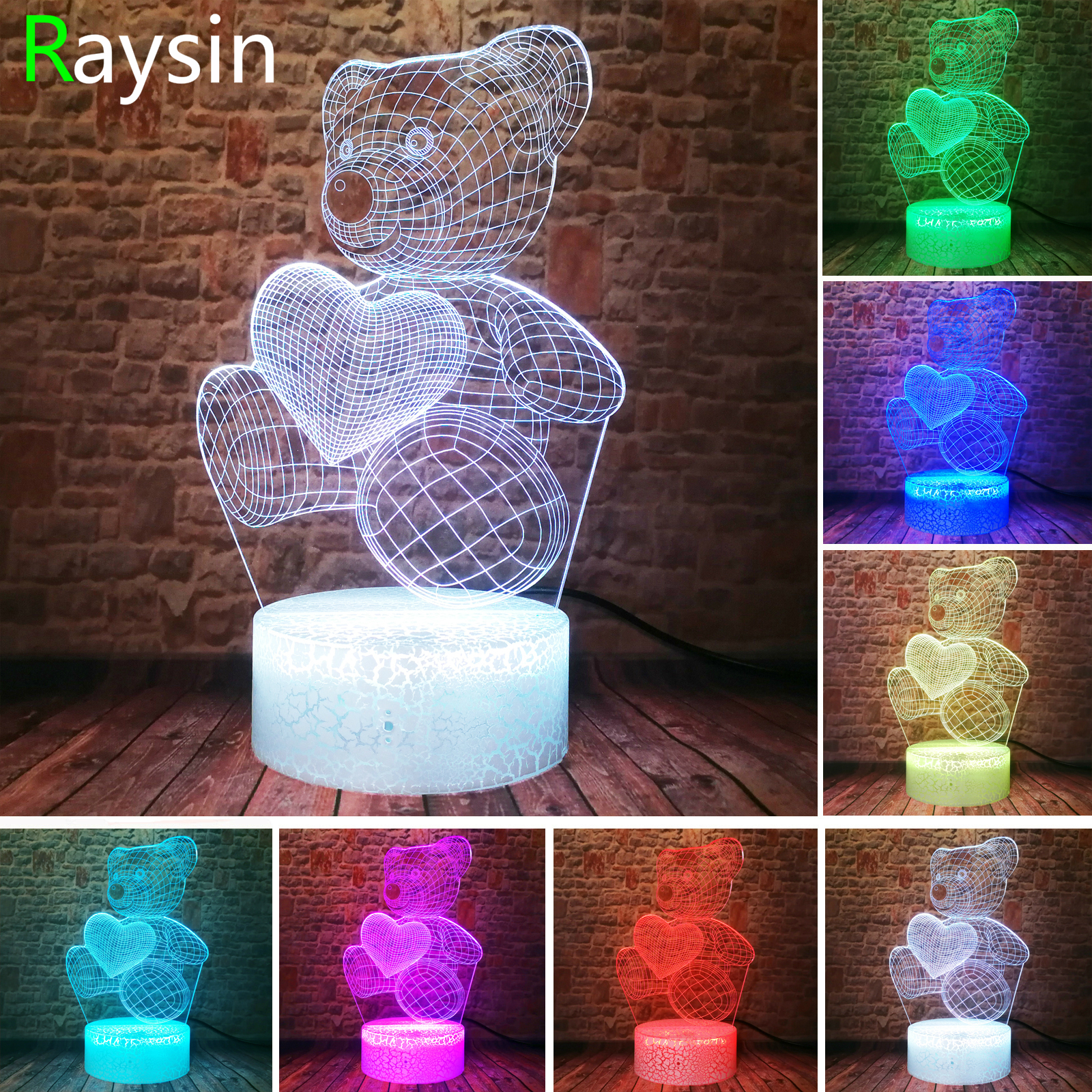 3D Night Light Teddy Bear Optical Illusion Smart Touch Control Lamp 7 Colors Change LED Perfect Birthday Gifts For Girls Kids