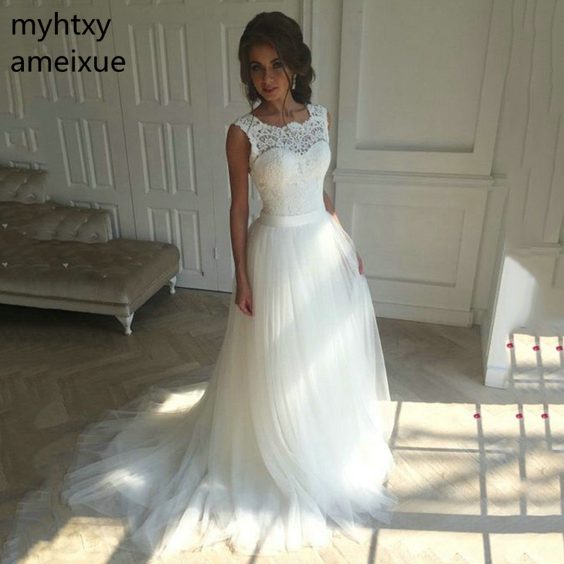 2020 New Lace O Neck Lace Tulle Boho cheap Wedding Dresses Summer Beach Bridal Gown Bohemian Wedding Gowns robe de mariage