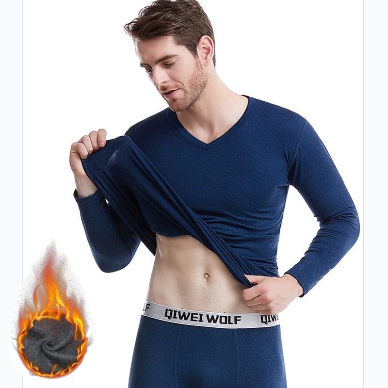 AIOPESON 2019 Autumn Winter Pajamas Men Solid V-Neck Fleece Pajamas Sets Men Casual Soft Mens Long Johns