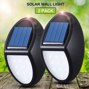 10 lampa solarna LED ścienna IP65 1Pc płot ogrodowy Outdoor Yard wodoodporna bezpieczeństwo krajobraz ścieżka ścienna lampa ozdobna tanie i dobre opinie 曜三迈 K185471 Lampy ścienne We współczesnym stylu HOLIDAY