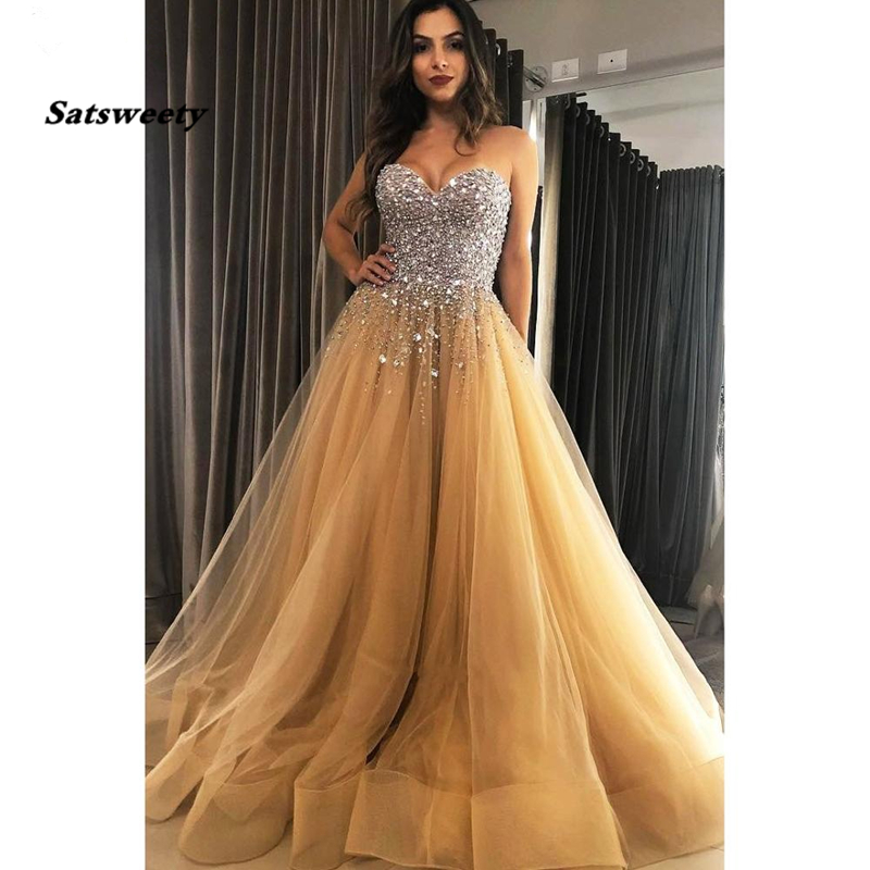 Beautiful Sweetheart Rhinestone Bodice Beaded Tulle Gold Prom Dresses Long 2020 A-Line Crystal Evening Party Prom Dress
