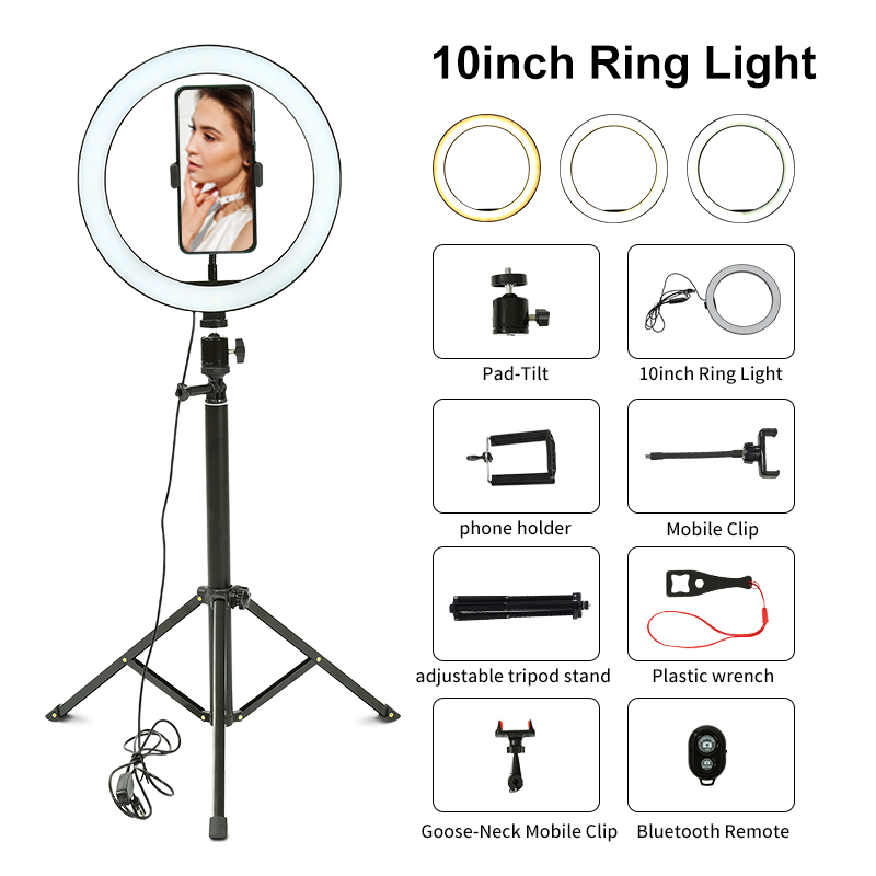 Led-Ring-Light Products Tripod Video Bluetooth-Control Youtube Photographic Selfie 10inch