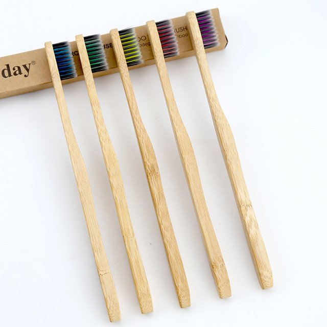 5PCS Eco friendly bamboo toothbrush wooden tooth brush soft-bristle tip charcoal for adults oral care portable 2
