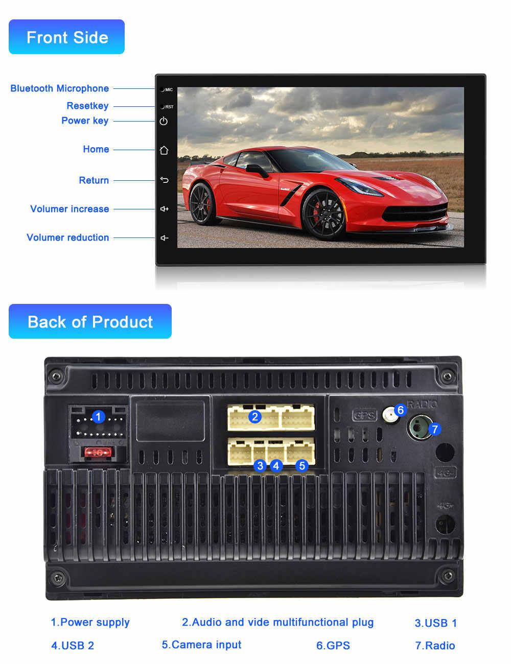 Camecho 2 DIN Android 9.0 Radio Đa Phương Tiện Đa Năng 2 Din Xe Ô Tô Tự Động Stereo GPS Wifi Xe Volkswagen Nissan kia TOYOTA
