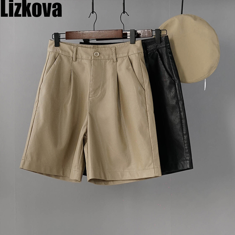 2020 Leather Cargo Pants Women Black High Waist Shorts Spring Summer Vintage Knee Length Pants Western Style Streetwear
