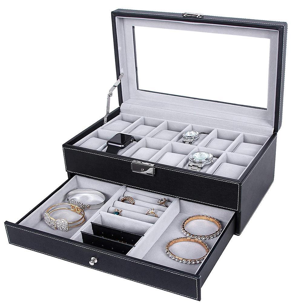 Double couche 12 fente détachable montre organisateur bijoux boîte de rangement étui de collection Faux cuir montre boîte bijoux organisateur