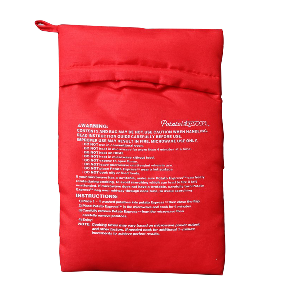 Red Color Microwave Potato Bag Red Washable Reusable Pouch Cooking in Just 4 Minutes Cooker Bag Kitchen Tool