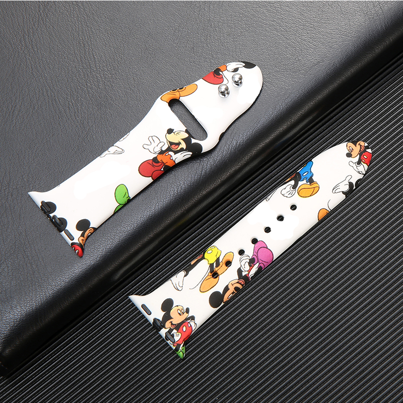 Strap For Apple Watch Band 42mm 38mm Iwatch Correa 44mm 40mm 5 4 3 2 Pattern Sport Silicone Bracelet Apple Watch 5 Accessories