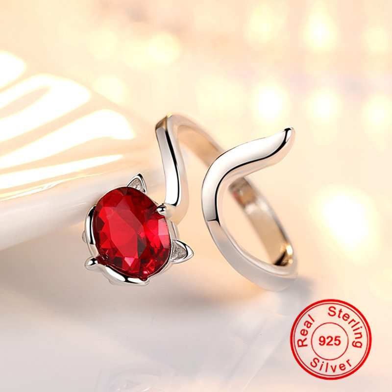 New Trendy Fox Ruby Ring 925 Sterling Silver Color Rings For Women Red Gemstone Jewelry S925Wedding Engagement Adjustable Ring