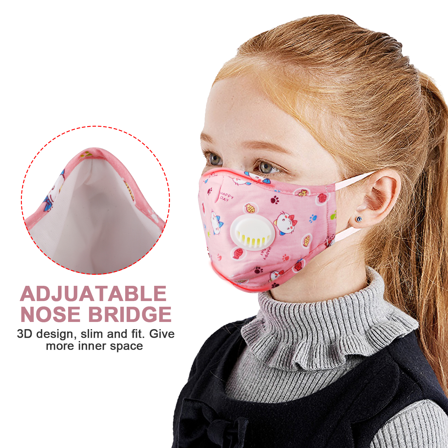 In Stock Cute Cartoon Baby Kids Face Mask Mouth Mask Dust-proof Respirator Anti Dust With Breathing Valve For Boys Girls