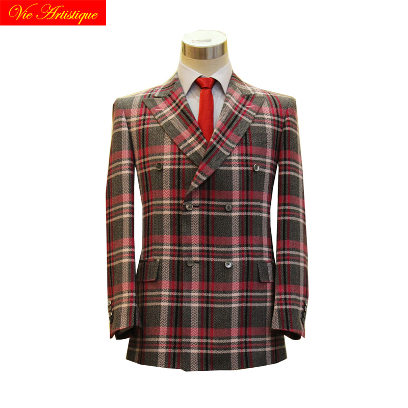 Custom Tailor Made Men's Bespoke Suits Business Formal Wedding Bespoke 2 Pieces Jacket Coat Pant Grey Pink Plaid Fine Wool