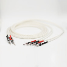 Pair 8AG Silver speaker cable hifi Carbon Fiber Banana Plug speaker wire(China)