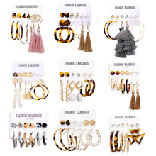 Retro Women Earrings Set Acrylic Pearl For Bohemian Leopard Tassel Stud 2020 New Brincos Fashion Jewelry
