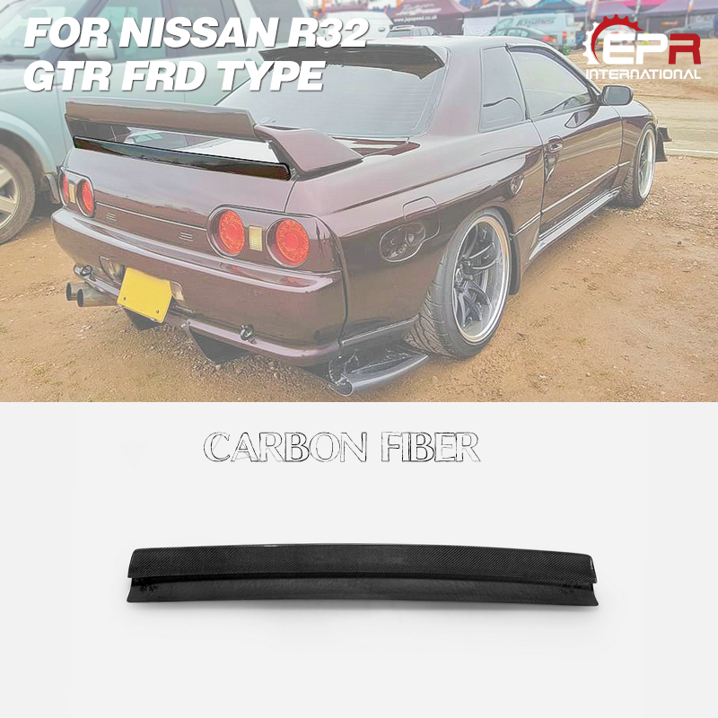 Car-styling For Nissan Skyline R32 GTR FRD Type Carbon Fiber Rrear Spoiler Gurney Flap Glossy Finish Splitter Wing Extension Kit