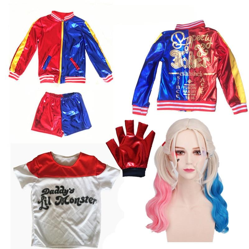 Kids Girls Harley Quinn Joker Costume Purim Superhero Suicide Squad Halloween Cosplay Costumes Jacket Wig Sets For Children