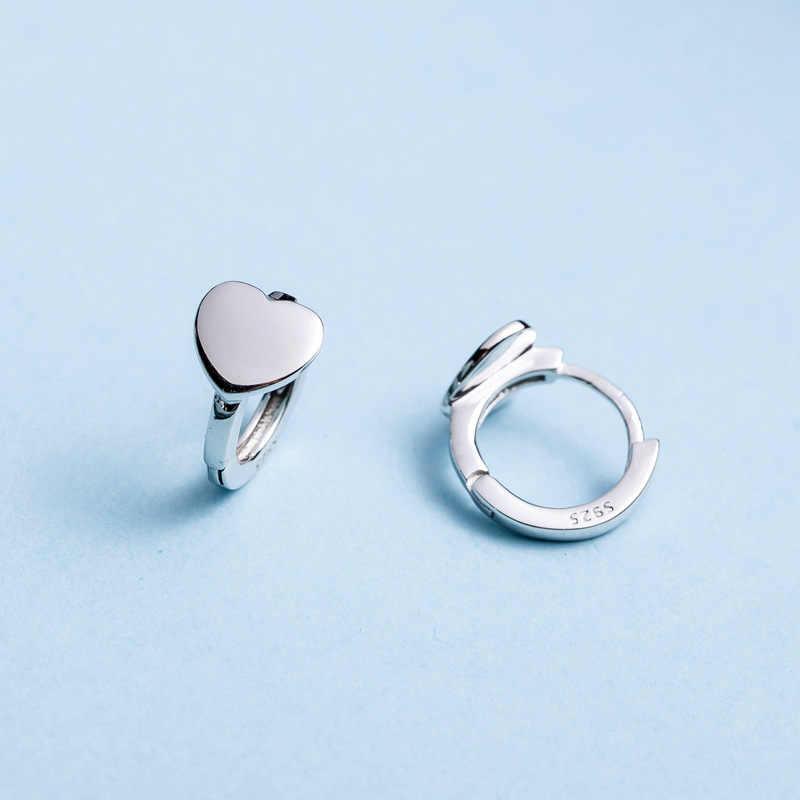 RUCHUJIAN 100% 925 เงินสเตอร์ลิงต่างหูหัวใจเงินคลิปต่างหูสำหรับผู้หญิงงานแต่งงานของขวัญเครื่องประดับ Fine