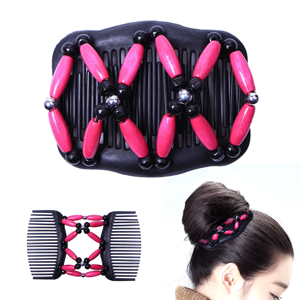 Double Hair Comb Magic Beads Elasticity Clip Stretchy Hair Combs Clips Fashion Hair Accessories Hair Bands Decorate Cl