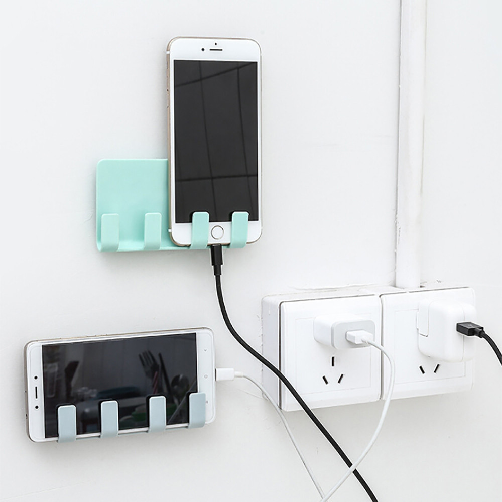Wall Shelf Rack Holders Storagefor Sockets Practical Wall Storage Phone Holder Socket Charging Box Bracket Stand Holder