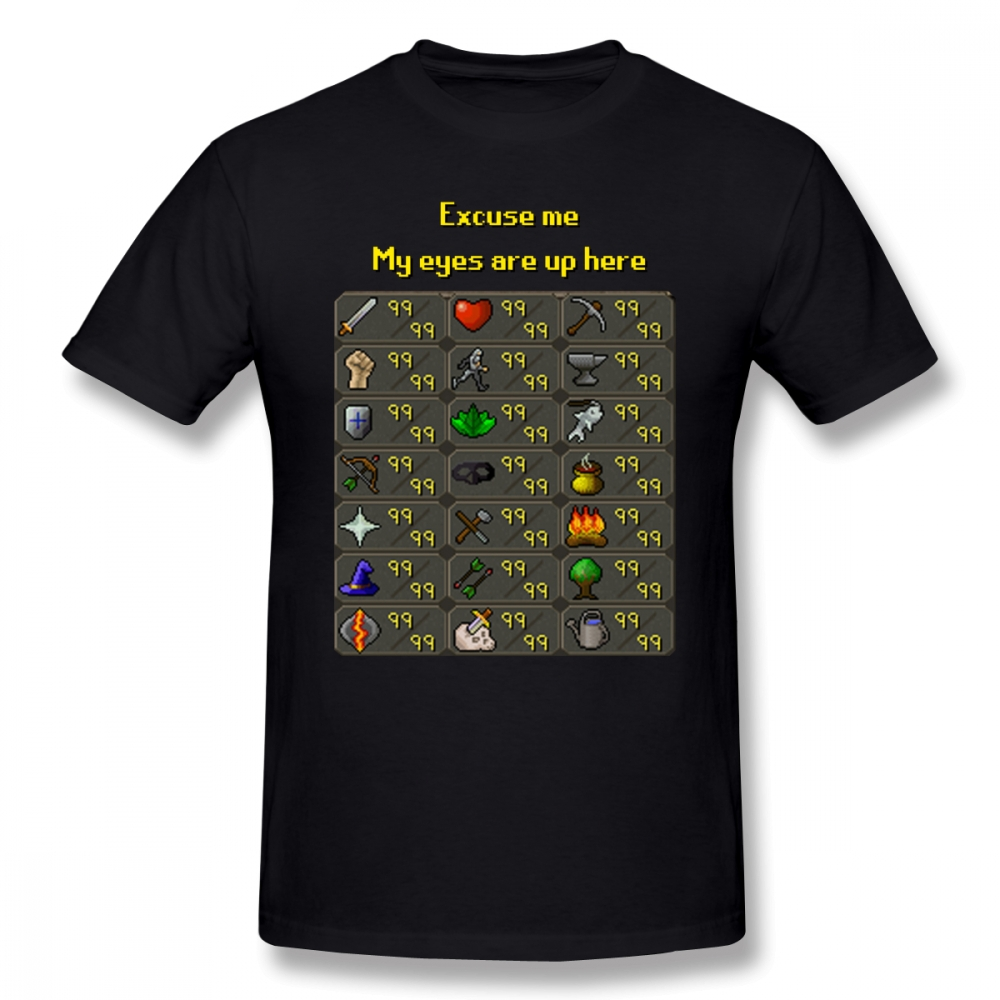 Runescape T Shirt Runescape My Eyes Are Up Here T-Shirt 100% Cotton Graphic Tee Shirt Male Short-Sleeve Summer Fun Tshirt