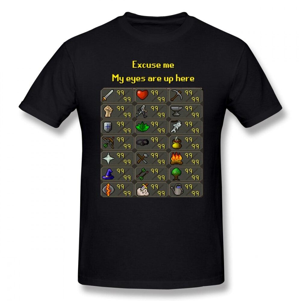 Runescape T Shirt Runescape My Eyes Are Up Here T-Shirt 100% Cotton Graphic Tee Shirt Male Short-Sleeve Summer Fun Tshirt