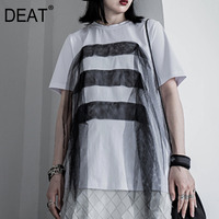 DEAT Solid Color Round Neck Short Sleeve Stitching Multi layer Mesh WomanT Shirt Simple Casual Fashion 2019 Autumn New TV079