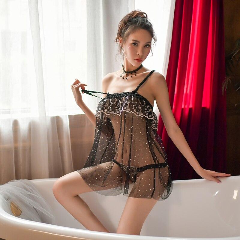 Hoyyezen 2019 new sexy sleepwear word collar strap transparent print lace nightdress panties set in Robe Gown Sets from Underwear Sleepwears