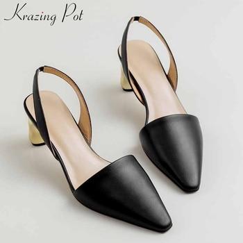 Krazing pot small square toe solid genuine leathermetal high heels slip on fashion elegant women streetwear slingback pumps L65