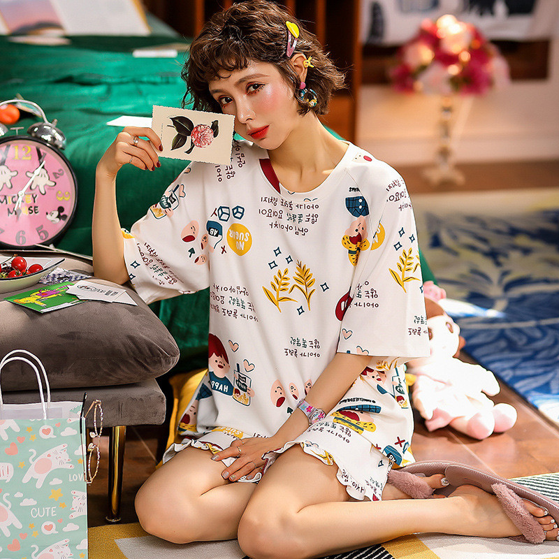 JULY'S SONG Cotton Women Pajamas Set 2 Pieces Printed Pajamas Suit Short Sleeves Sleepwear Cute Shorts For Female