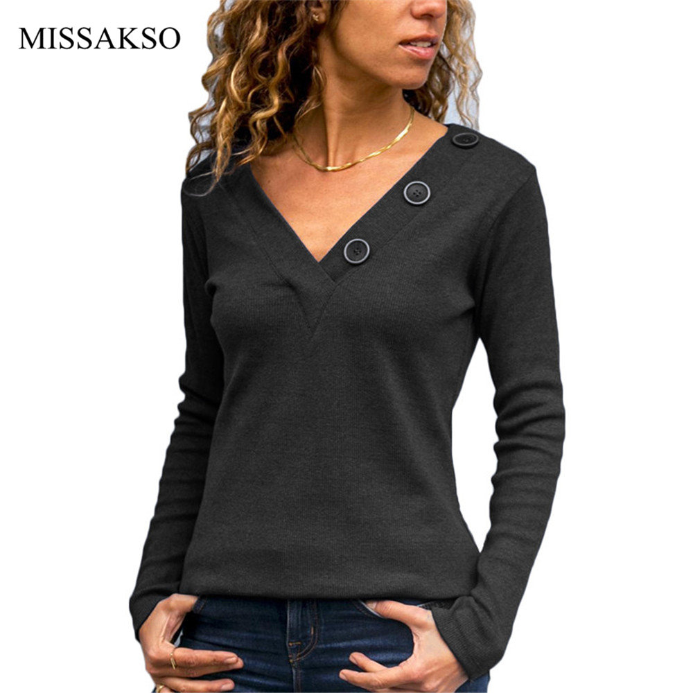 Casual Spring Autumn Women Blouse Solid Black Gray Long Sleeve Tops V Neck Button Plus Size Knitted Shirts Blusas Mujer Female