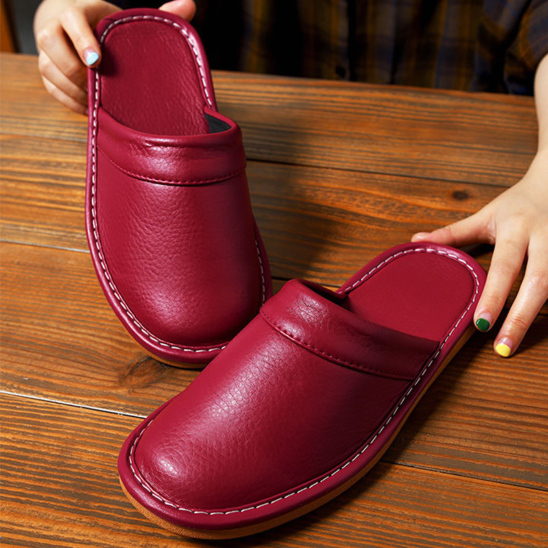 Leather Slippers Men Indoor House Shoes Unisex High Quelity Leather Home Slippers Man Spring 2020 Shoes