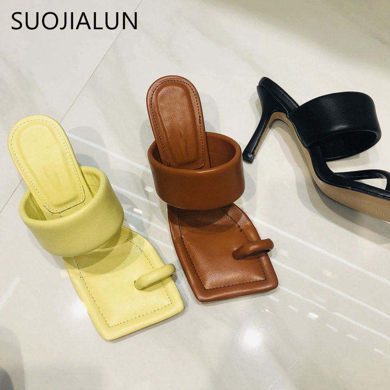 SUOJIALUN 2020 New Design Square Toe Thin High Heel Slippers Summer Outdoor Slip On Dress Shoes Ladies Elegant Slides Sandal
