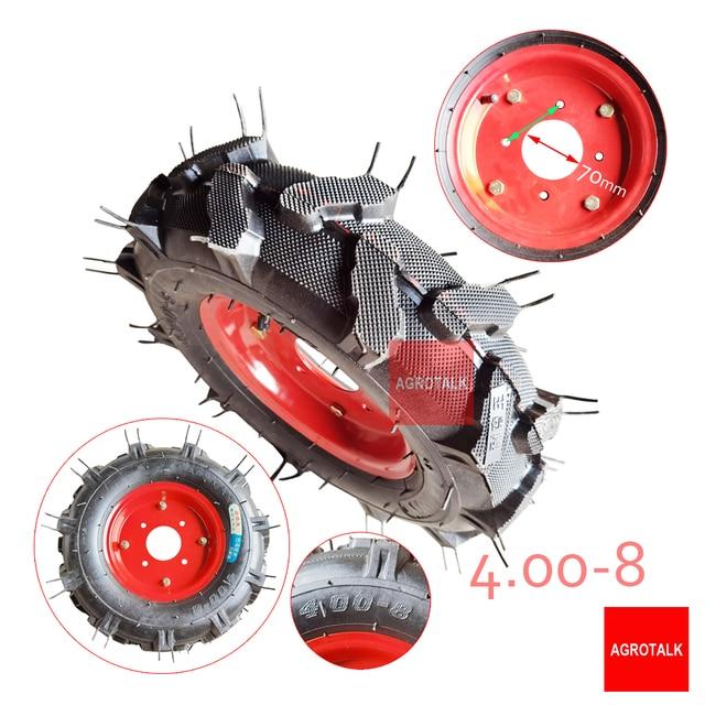 작은 바퀴가 달린 튜브 용 튜브 4.00-8 어셈블리가있는 타이어