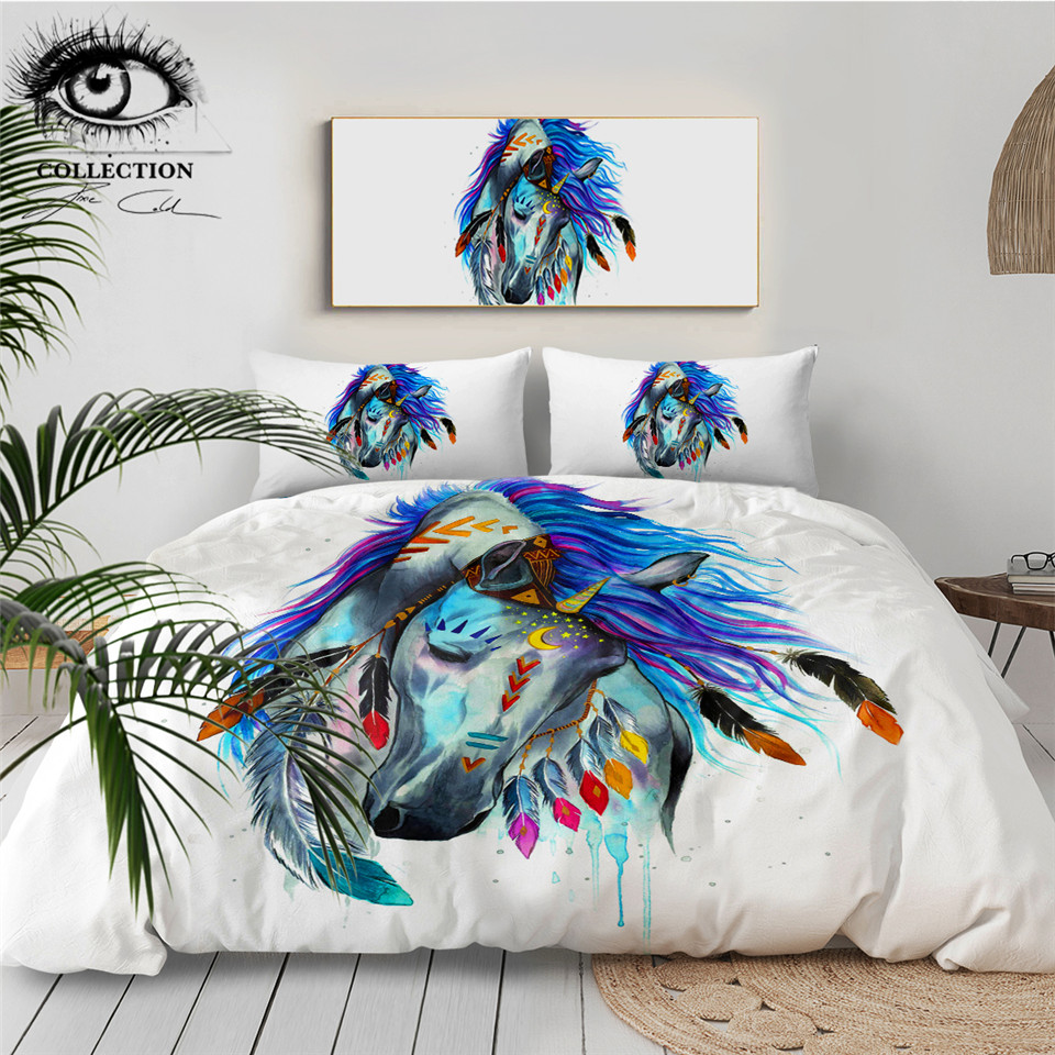 Pferd By Pixie Cold Art Bedding Set Tribal Horse Duvet Cover Colorful Animal Bedclothes Watercolor Boho 3-Piece Home Textiles