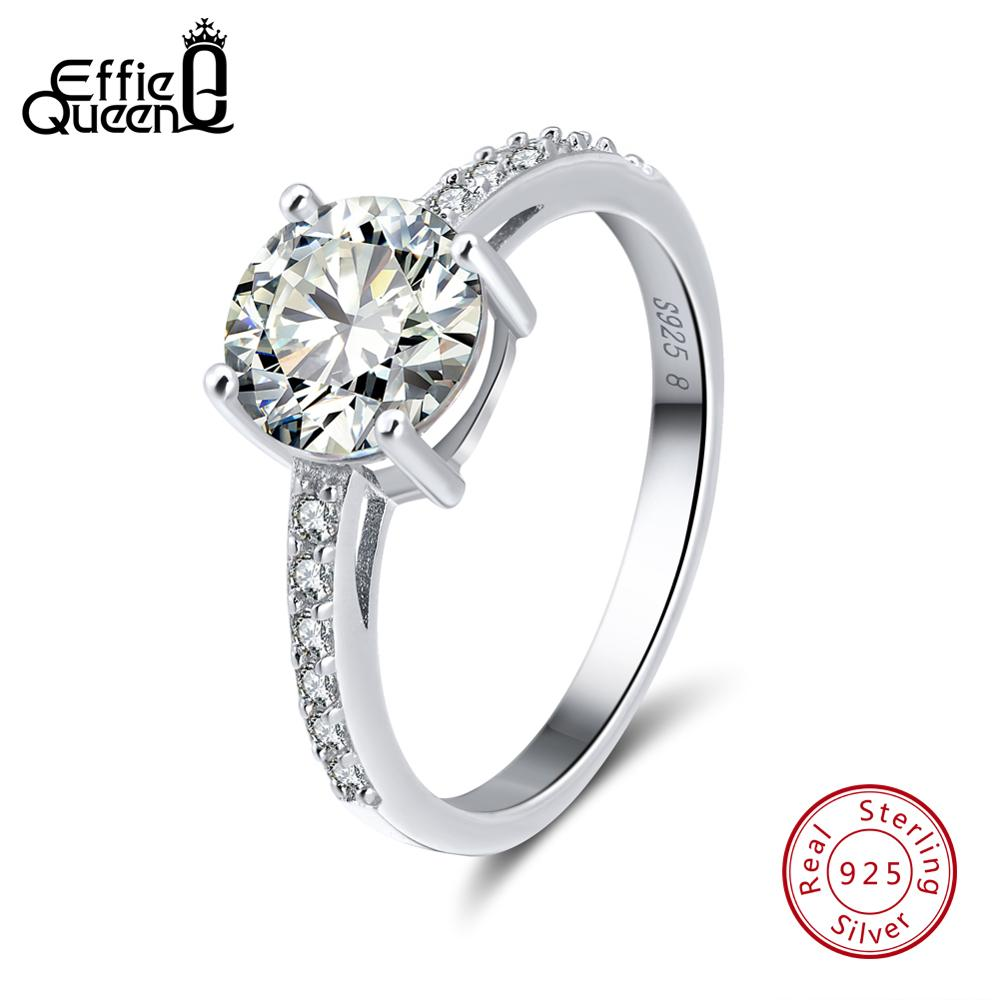 Effie Queen Real 925 Sterling Silver Wedding Rings For Women AAA Shiny Cubic Zircon Luxury Engagement Ring Party Jewelry BR56