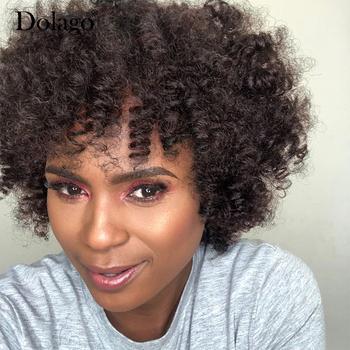 #4 ciemnobrązowe naturalne kręcone ludzkie włosy peruki łatwe w noszeniu i styl oddychalność pełna peruka maszynowa tanie i dobre opinie Dolago Remy włosy Natura Sen Curl Brazylijski włosy Średnia wielkość NONE Short Summer Fashion Wig Afro Kinky Curls