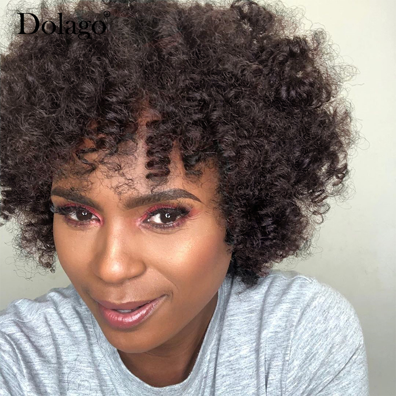 #4 Dark Brown Natural Curly Human Hair Wigs Easy To Wear And Style Breathability Full Machine Wig