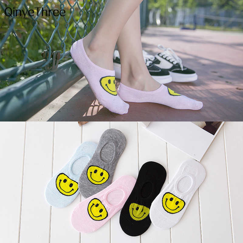 Campus wind Frauen Low Cut Baumwolle Socken emoji Yellow Lächelndes gesicht druck socke Mädchen Casual Socke Harajuku nette stil 1 paar = 2 stücke