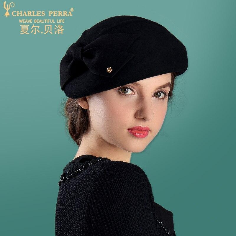 Charles Perra femmes mode chapeau 2019 nouveau automne hiver béret élégant dame Fedoras garder au chaud décontracté laine chapeaux casquettes 5716 - 6