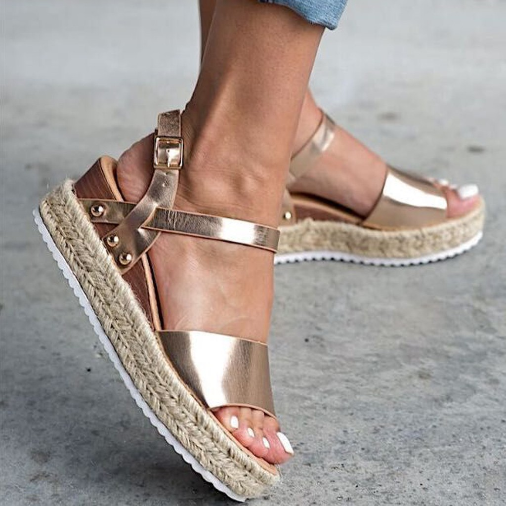 SAGACE Shoes 2019 Summer Women Fashion Solid Color Sandals Buckle Strap Wedges Platform Retro Peep Toe Sandals  May14