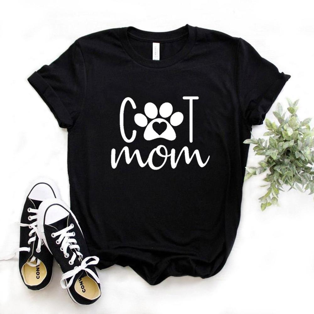 Cat Mom Paw Print Women Tshirts Cotton Casual Funny T Shirt For Lady  Yong Girl Top Tee 6 Color NA-993