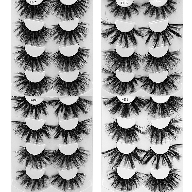 4 Pairs 25 Mm 3d Mink Lashes Bulk Faux With Custom Box Wispy Natural Mink Lashes Pack Short Wholesales Natural False Eyelashes