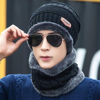 2020 jesienne i zimowe męskie zestawy czapek i szalików podwójnie pogrubione z puchowymi grubymi odkrytymi czapki dla mężczyzn i kobiet na ciepło tanie i dobre opinie Dla osób dorosłych Akrylowe Unisex Skullies czapki Na co dzień