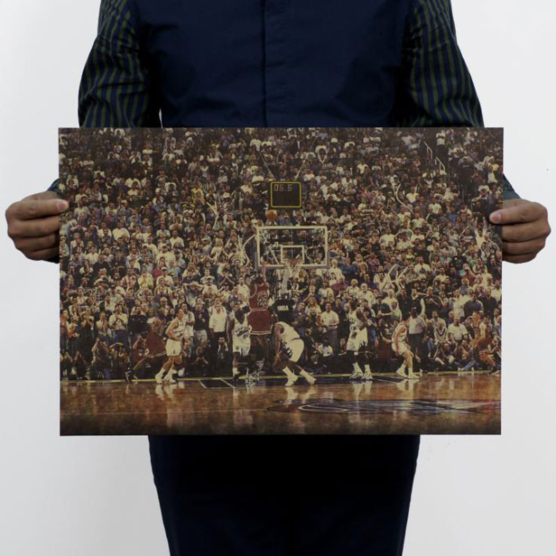 AIMEER súper estrella de baloncesto mj A clásico lore poster retro kraft deportes pintura decorativa 51x35.5cm