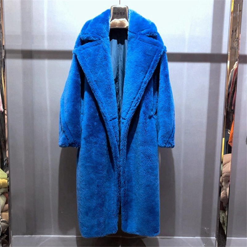 100% alpaga réel manteau de fourrure femmes hiver costume col longue Nature ours en peluche fourrure manteaux pardessus femelle véritable fourrure veste
