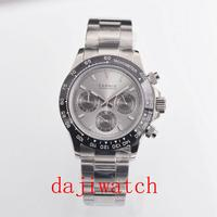 39mm PARNIS gray dial sapphire glass solid full Chronograph quartz mens watch men's watch