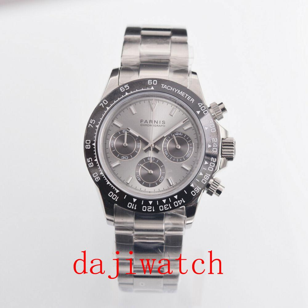 39mm PARNIS Gray Dial Sapphire Glass Solid Full Chronograph Quartz Mens Watch Men's Watch