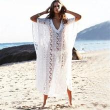 Sexy Beach Cover up Lace White Swimwear Dress Ladies Bathing Suit Cover ups Beach Tunic Saida de Praia цена