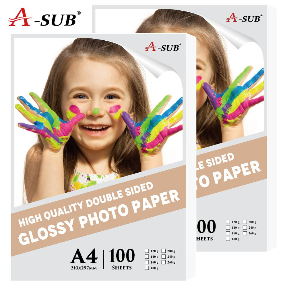 Free GIft A4 Waterproof Inkjet Printing High Glossy Photo Paper Double Side  100sheets For Inkjet Printer