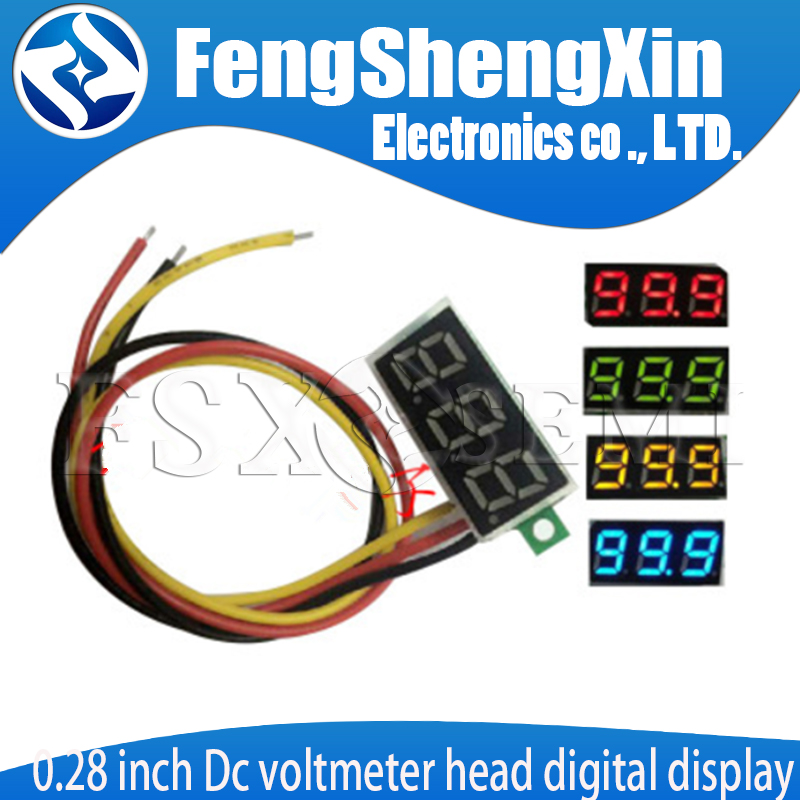 2pcs 0.28 Inch Dc Voltmeter Head Digital Display Adjustable Three Lines DC0-100V Battery Voltmeter