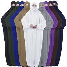 イスラムオーバーヘッド Jilbab ヒジャーブアバヤ Khimar ブルカ祈りドレス Niqab イスラムアラブベールフード付きドレスドバイトルコローブガウン